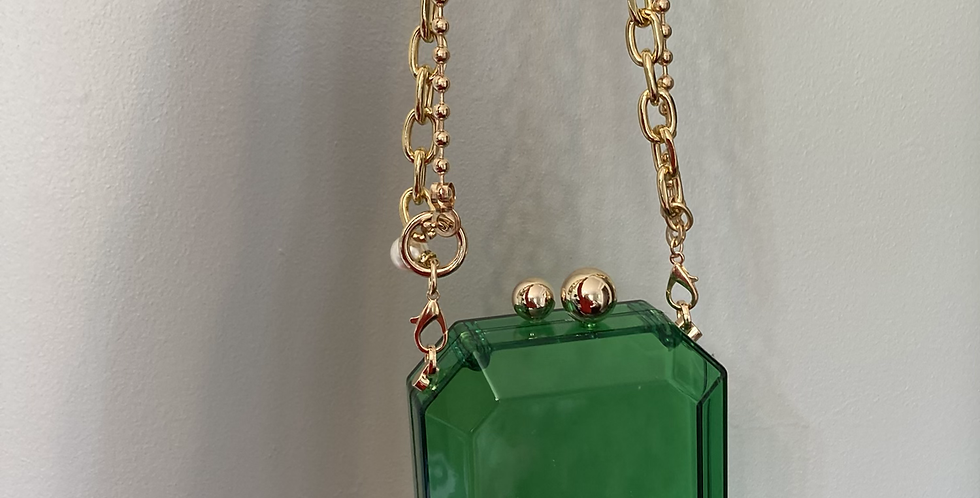 Emerald Mini Clutch with Chain/Bead Strap & Pearl Detail
