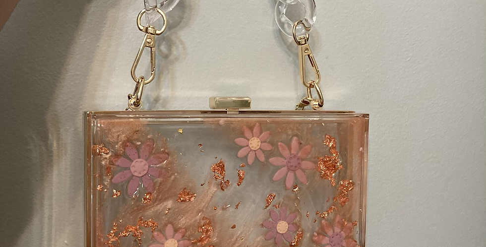 Wildflower x Happy Clays Rose Gold Mist Floral Clutch w/ Two Detachable Straps