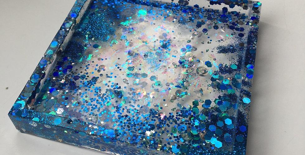 Blue Glitter, Iridescent Shard & Holographic Trinket Tray