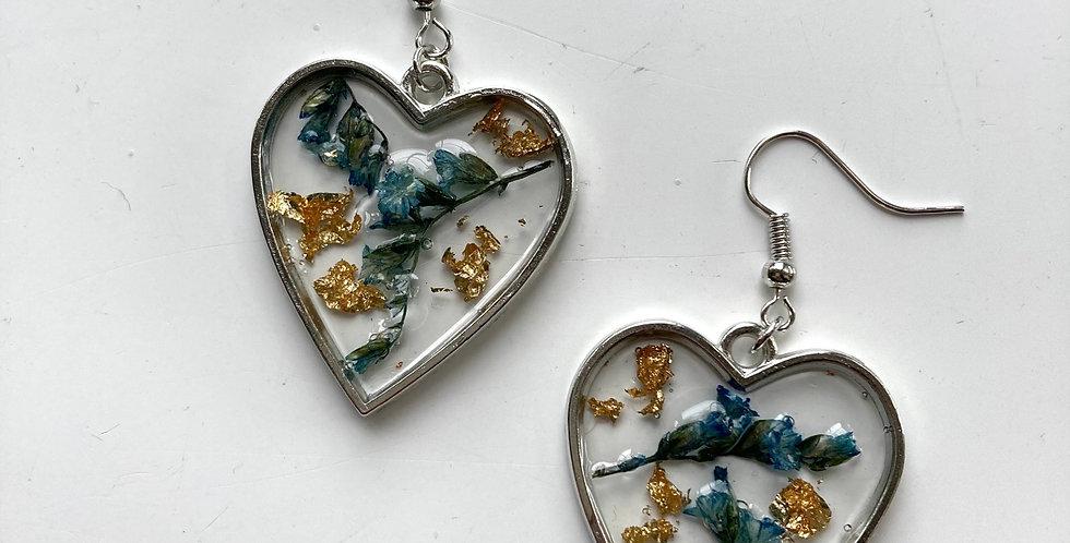 Blue Heather Gold Flake Heart Drop Earrings