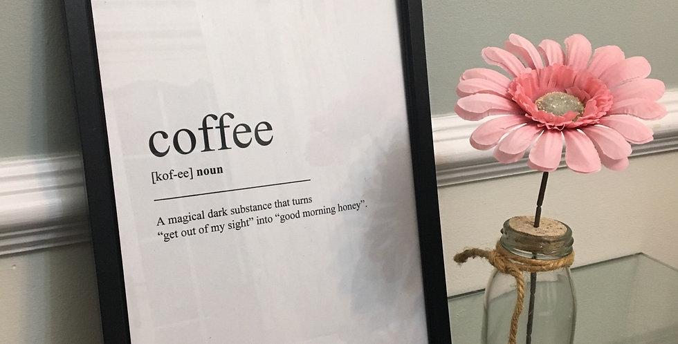 'Coffee' Definition A4 Print