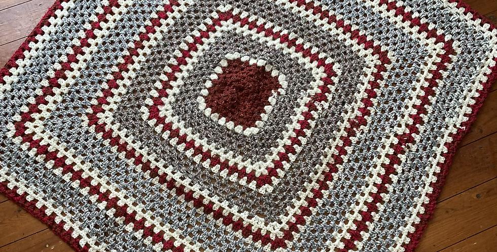 Grey, Burgundy & Cream Cot/Small Blanket/Throw