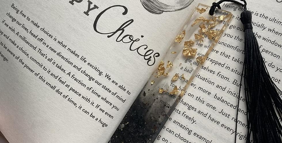 Black Glitter & Gold Flake Bookmark