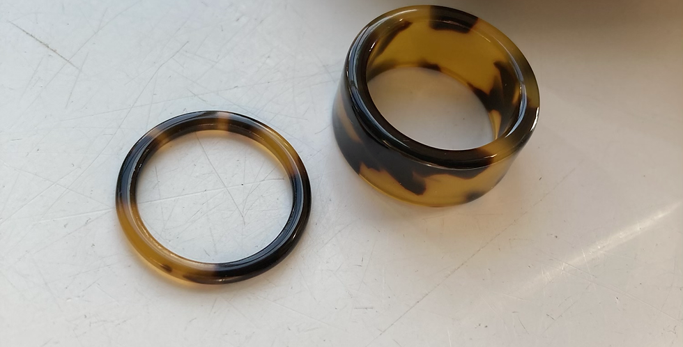 Set of 2 Tortoise Shell Thick & Thin Resin Rings