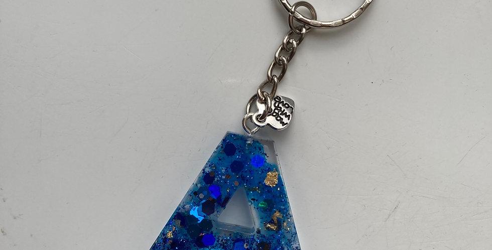 'A' Blue Glitter & Gold Flake Keyring