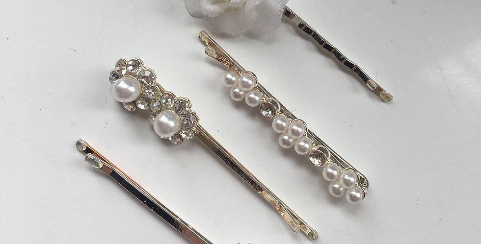 Pearl & Diamond Silver Slides