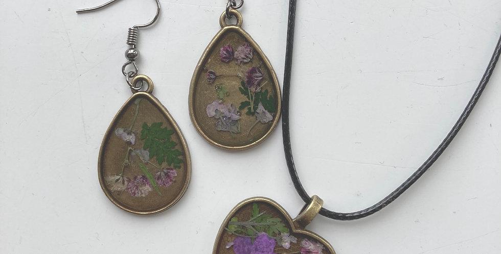 Purple Gypsophila Heart Necklace & Drop Earring Set
