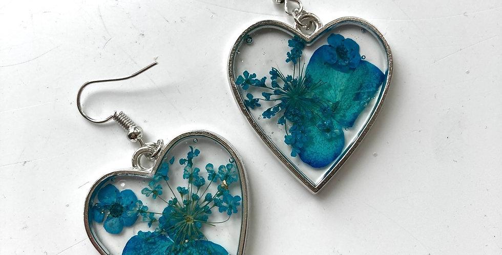 Blue Floral Heart Drop Earrings