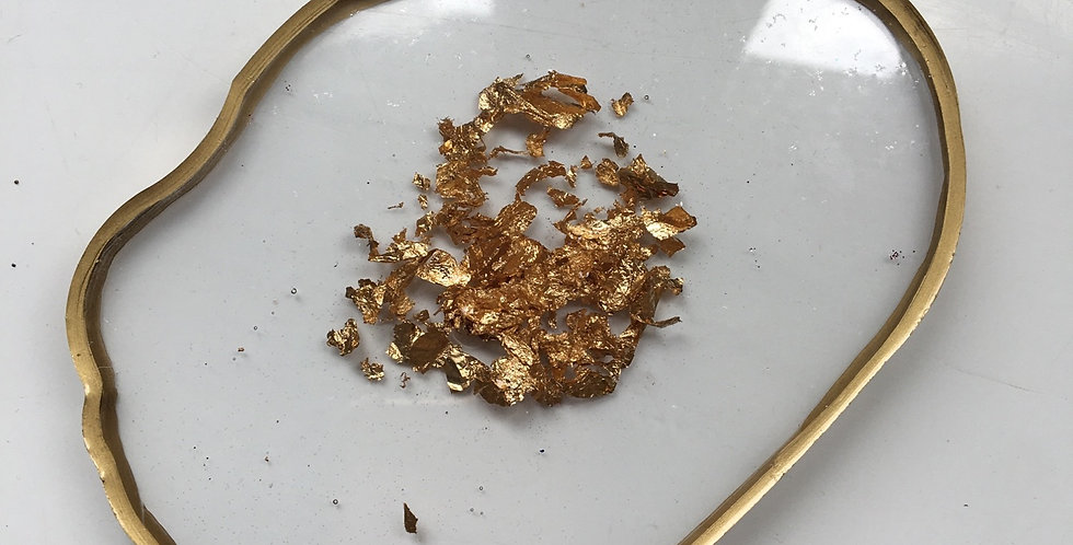 Reversible Gold Flake Coaster/Palette with Gold Edging