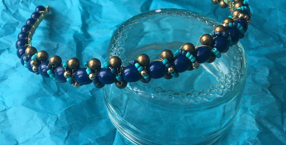 Dark Blue, Gold & Bronze Beaded Band
