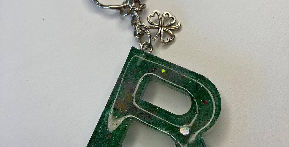 'B' Green Glitter Mix Keyring