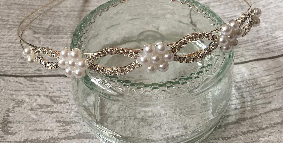 'Jade' Floral Pearl & Diamond Band