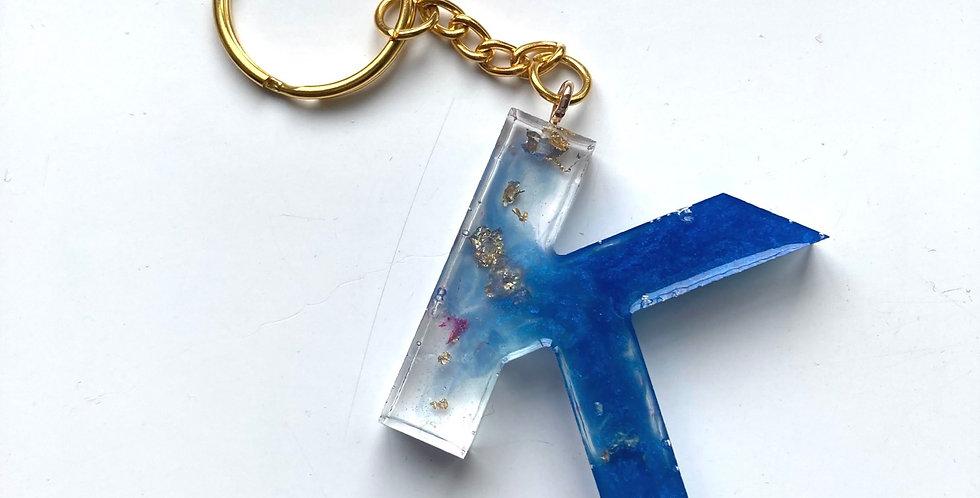 'K' Blue/Flake/Pink Keyring