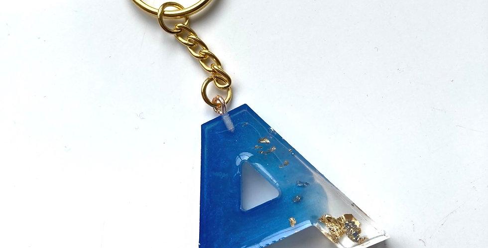 'A' Blue & Gold Flake Keyring