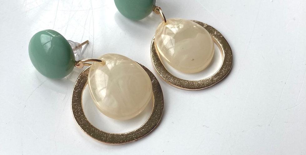 Teal & Pearl Resin Drop Earrings