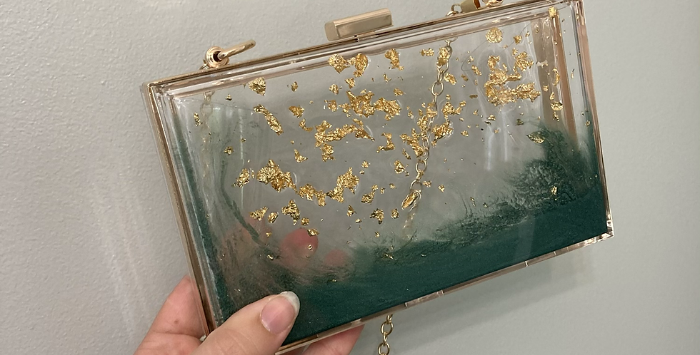 Emerald Green & Gold Flake Clutch
