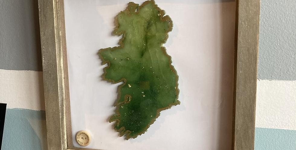 Mist Green/Gold Flake Resin Ireland Frame