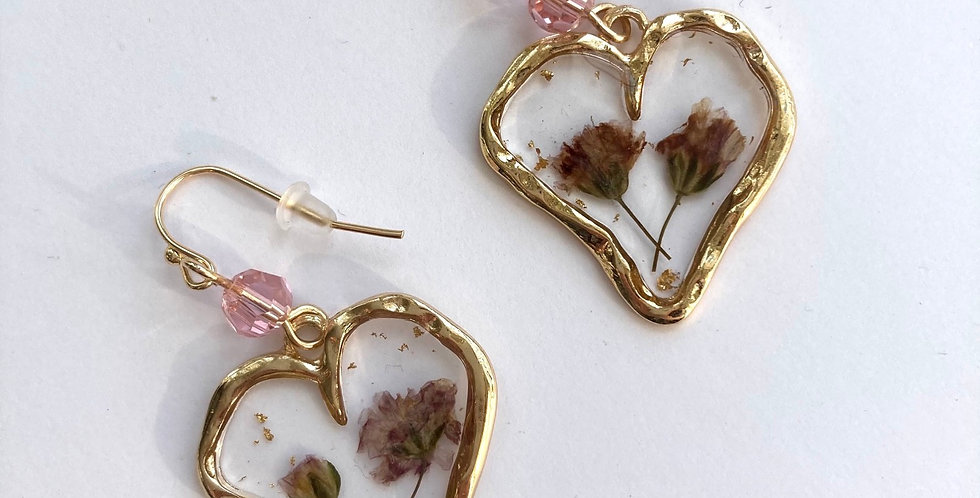 Pink Dried & Pressed Floral Gold Heart Earrings