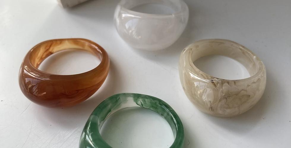 Raised Marble Resin Rings