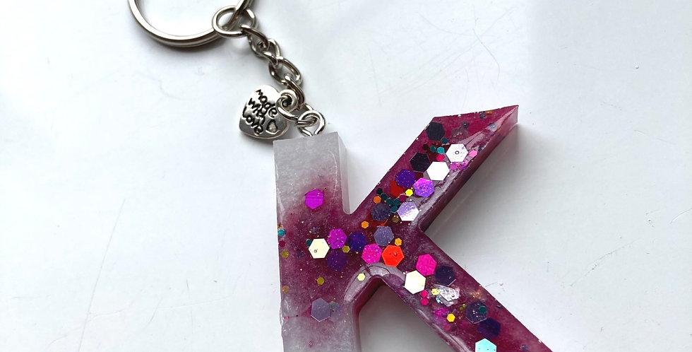 'K' Glitter Keyring
