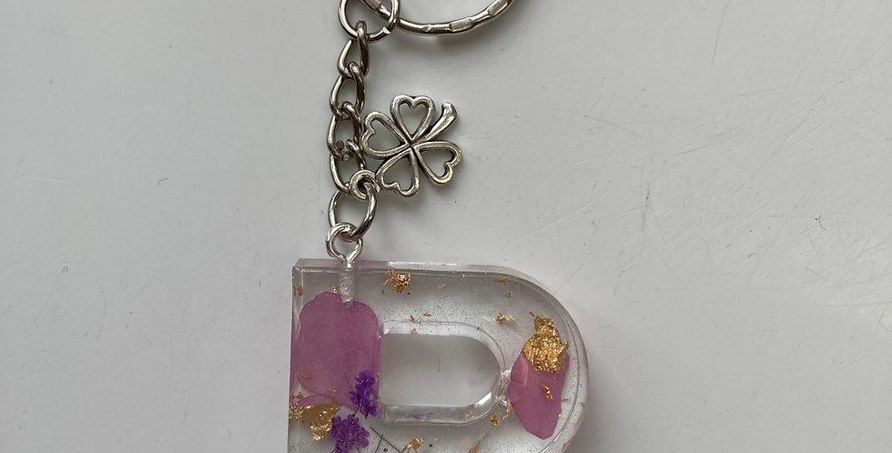 'P' Purple Floral Keyring