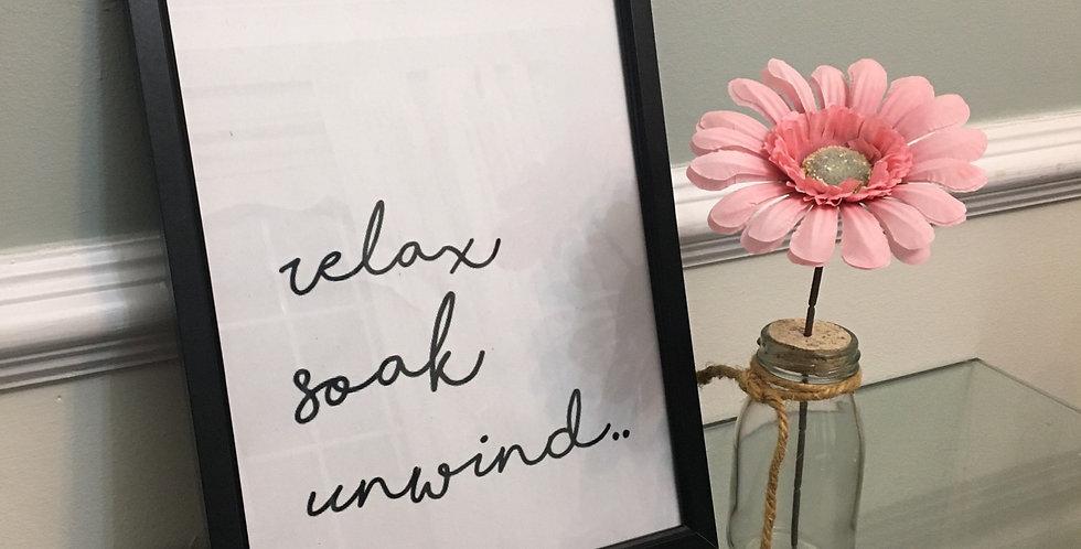 'Unwind' Bathroom A4 Print