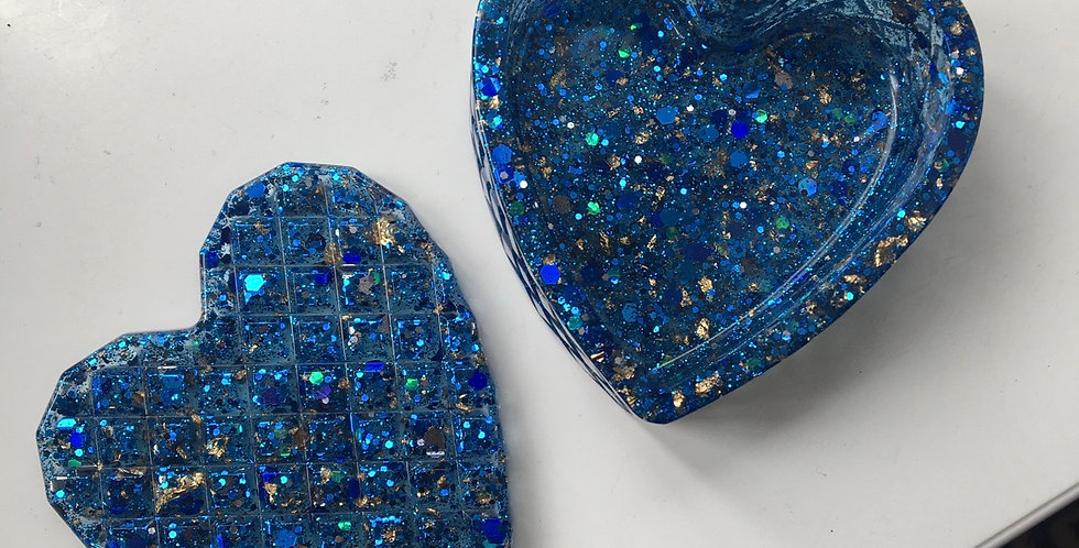 Blue Glitter & Gold Flake Heart Trinket Box
