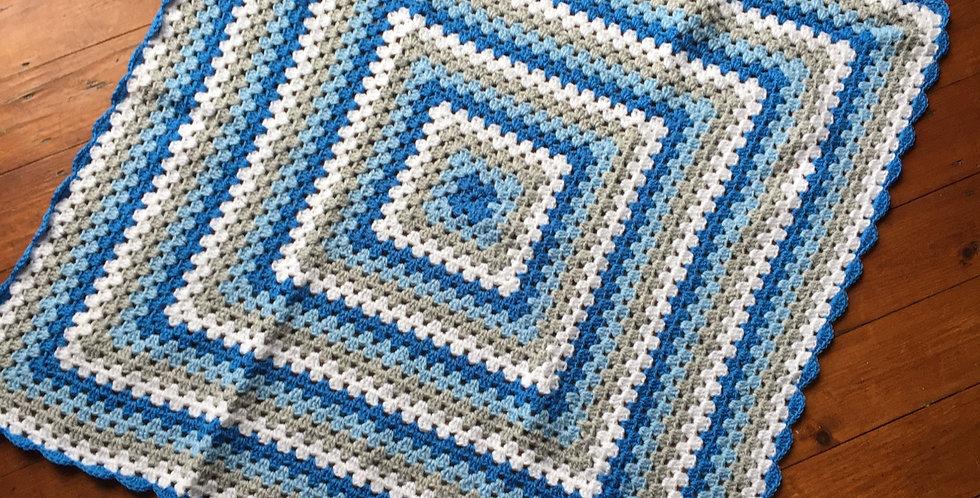 Blue, Grey & White Baby/Pram Blanket