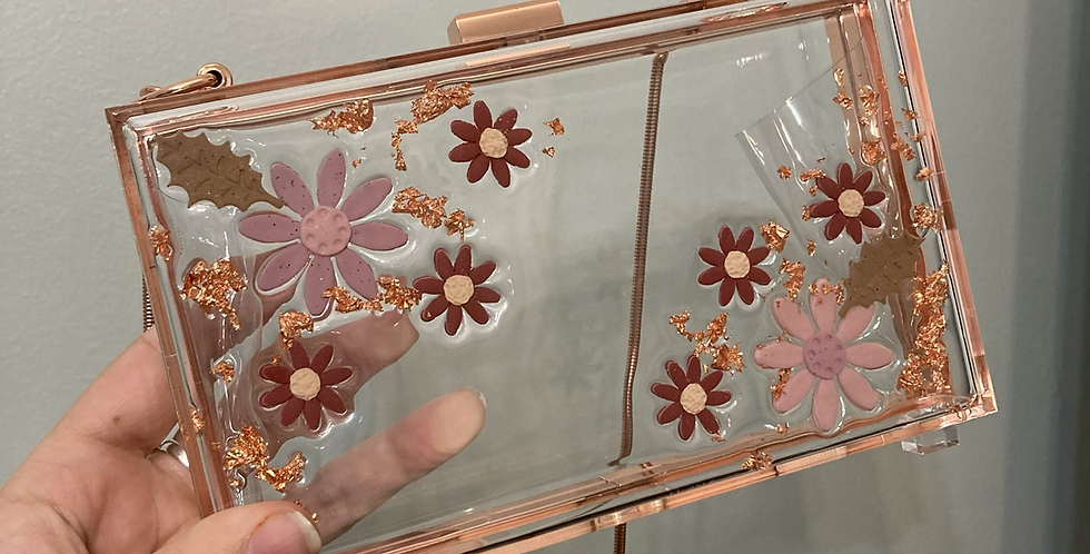 Wildflower x Happy Clays Rose Gold Floral Clutch