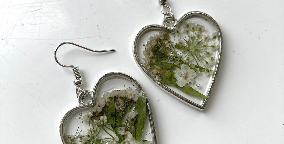 White Floral Heart Drop Earrings