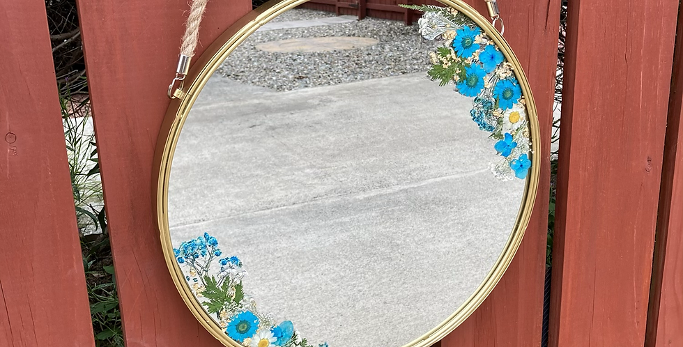 Blue Dried Floral Daisy Mirror