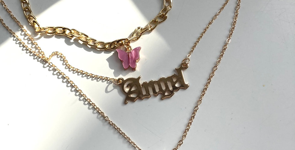 3 Piece Butterfly Angel Chain Necklace