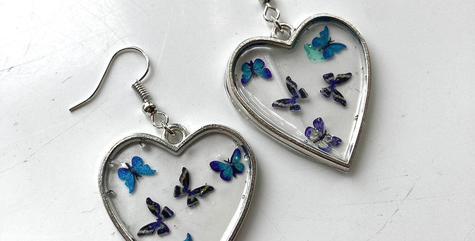 Butterfly Heart Drop Earrings