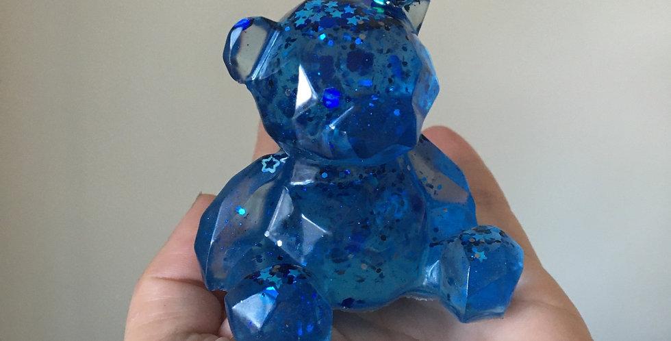 Blue Geometric Resin Bear