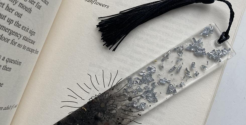 Silver Flake & Black Glitter Bookmark