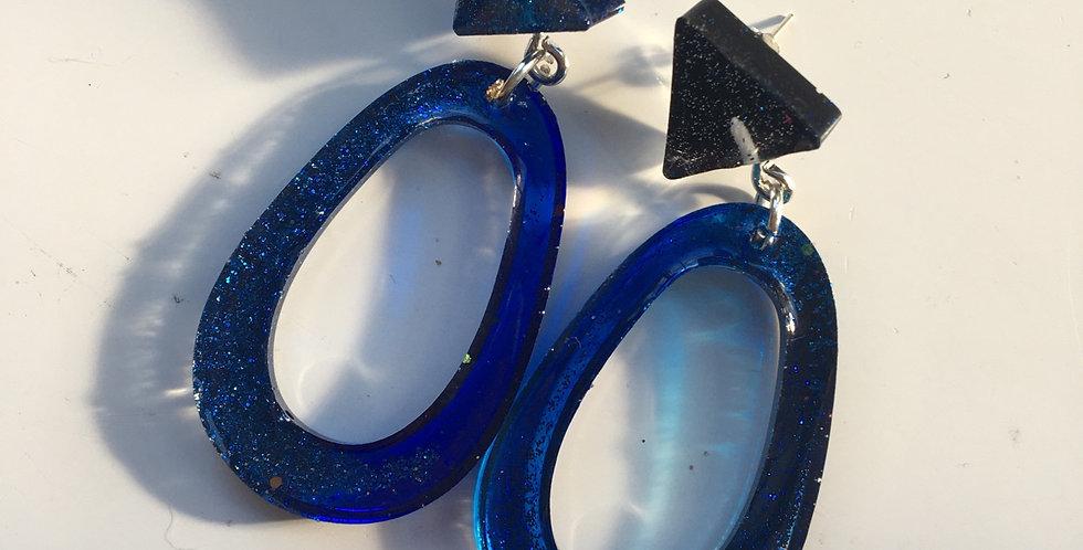 Blue Glitter Statement Earrings
