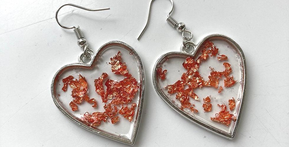 Rose Gold Flake Heart Drop Earrings