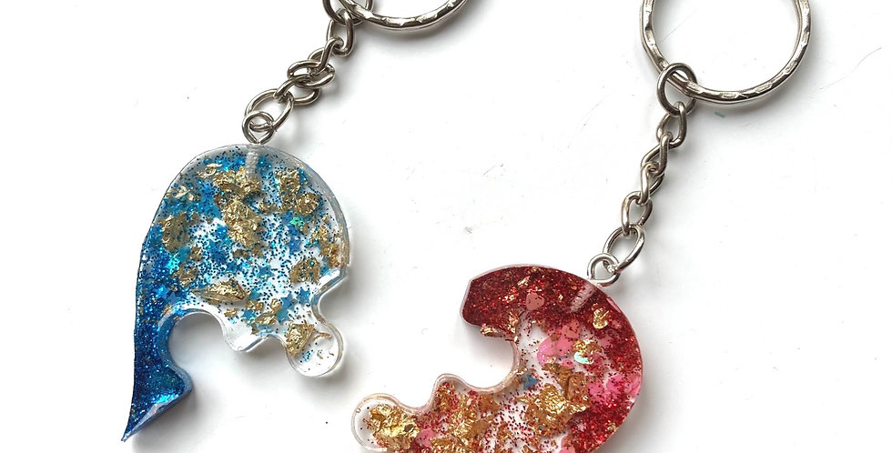 Heart Puzzle Piece Keyrings