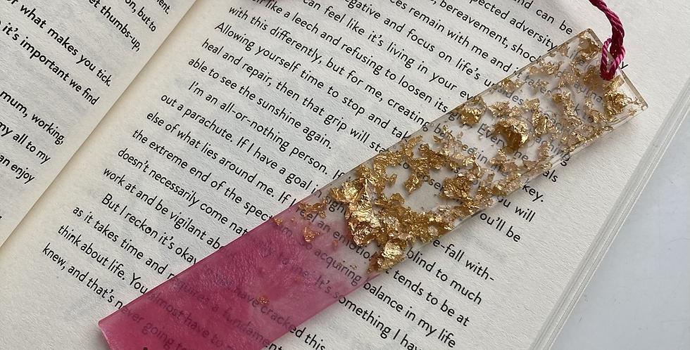 Pink & Gold Flake Bookmark