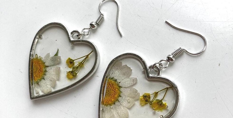 Daisy Heart Drop Earrings