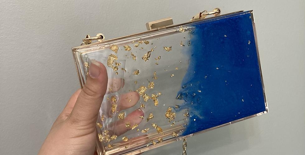 Electric Blue & Gold Flake Clutch