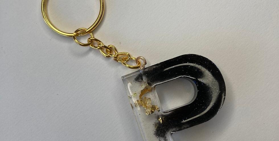 'P' Black & Gold Flake Keyring