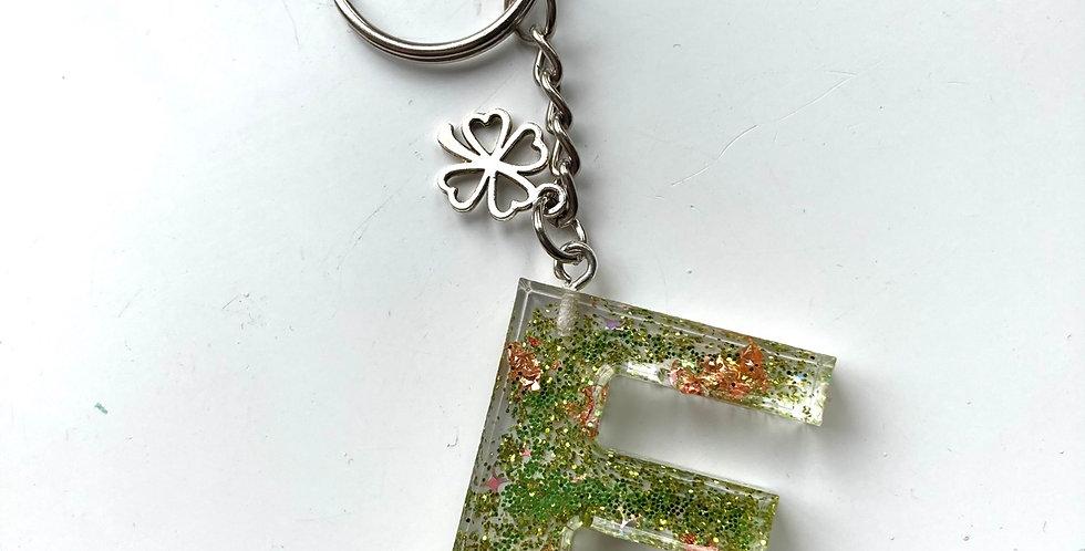'F' Green Glitter & Rose Gold Keyring