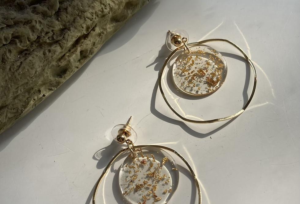 Resin Gold Flake Hoop Earrings
