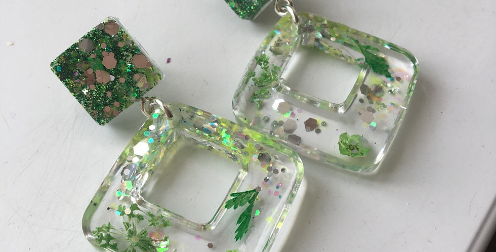 Green Floral/Glitter Earrings