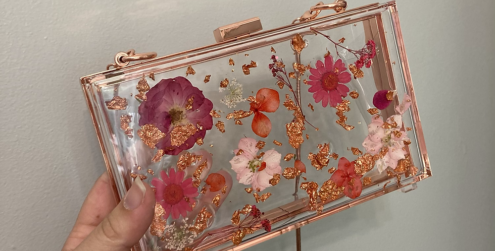 Red & Pink Floral Rose Gold Clutch