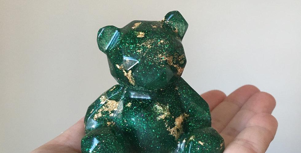 Green & Gold Flake Geometric Resin Bear