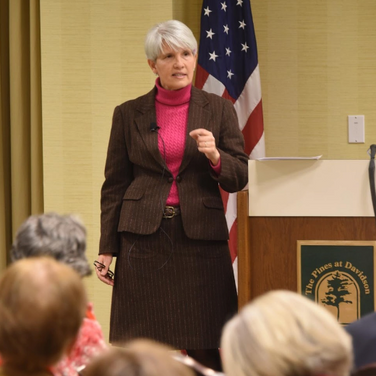 Davidson College Brown Professor of East Asian Politics Shelley Rigger delivers the first Rynne Lecture of the 2019 DavidsonLearns winter term. Photo: Bill Giduz
