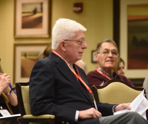 Tom Rynne takes in the first DavidsonLearns Rynne Lecture in International Affairs. Photo: Bill Giduz