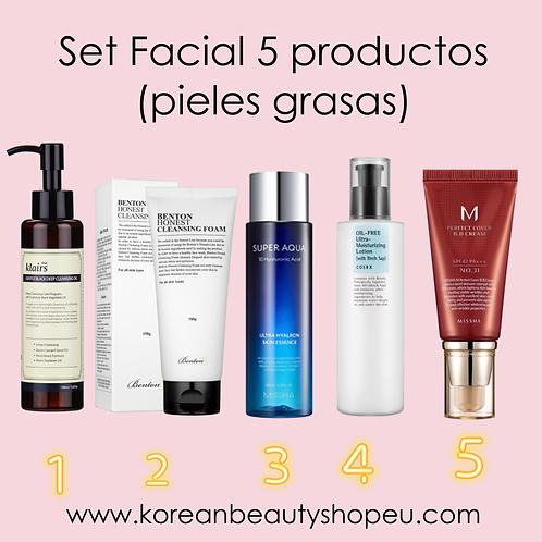 Set Facial de 5 productos (pieles grasas)